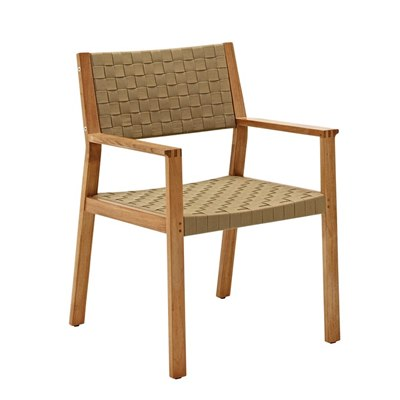 Maze Dining Chair with Arms - Buffed Teak (Malt Strap)