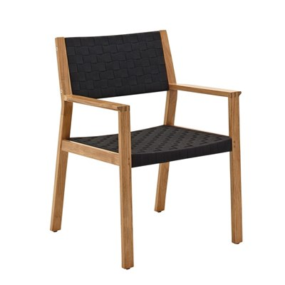Maze Dining Chair with Arms - Buffed Teak (Noir Strap)