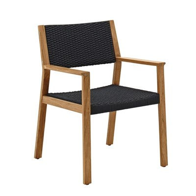 Maze Dining Chair with Arms - Buffed Teak (Flint Rope)