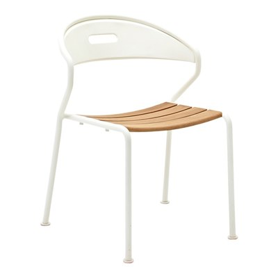 Curve Teak Stacking Chair - Buffed Teak (White)