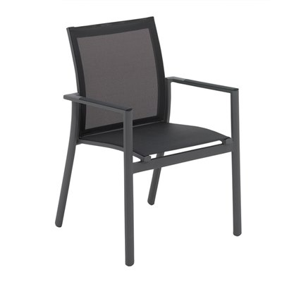 Azore Stacking Chair with Arms (Meteor / Charcoal)