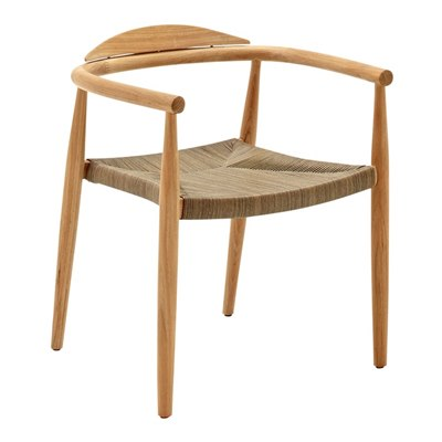 Dansk Stacking Chair with Arms - Buffed Teak (Putty Wicker)