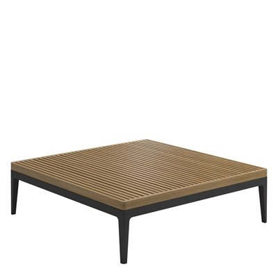 Grid Square Coffee Table - Buffed Teak Top
