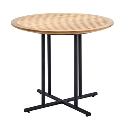 Whirl 90cm Round Dining Table - Buffed Teak Top (Meteor)