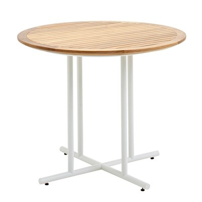 Whirl 90cm Round Dining Table - Buffed Teak Top (White)