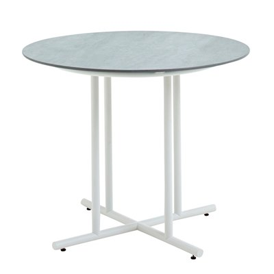 Whirl 90cm Round Dining Table - Pumice Ceramic Top (White)