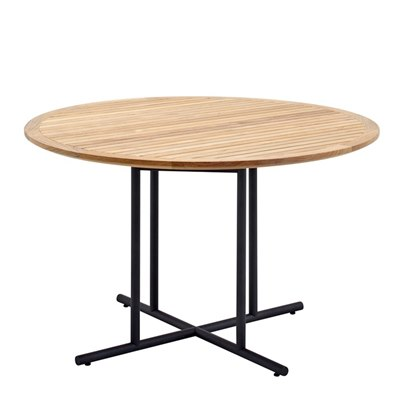 Whirl 120cm Round Dining Table - Buffed Teak Top (Meteor)