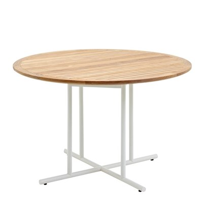 Whirl 120cm Round Dining Table - Buffed Teak Top (White)