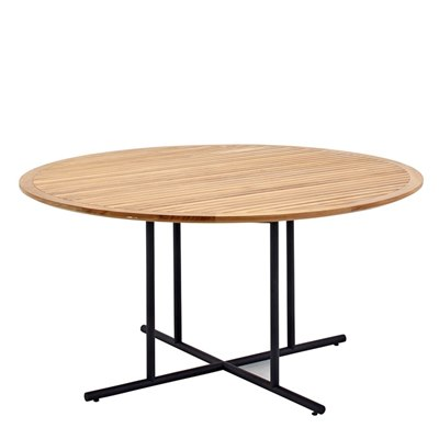 Whirl 150cm Round Dining Table - Buffed Teak Top (Meteor)