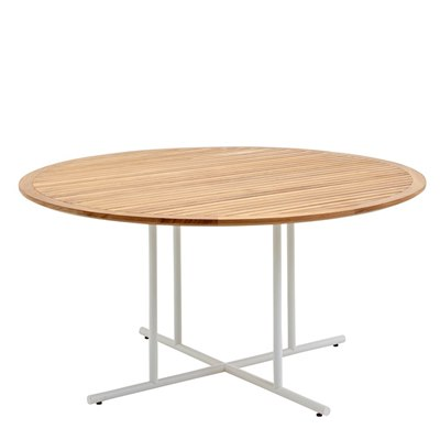 Whirl 150cm Round Dining Table - Buffed Teak Top (White)