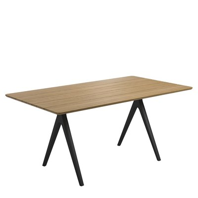 Split 92cm x 170cm Dining Table - Buffed Teak Top (Meteor)