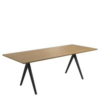 Split 92cm x 220cm Dining Table - Buffed Teak Top (Meteor)
