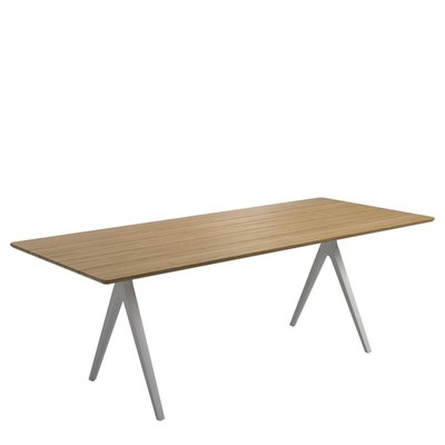Split 92cm x 220cm Dining Table - Buffed Teak Top (White)