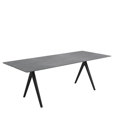Split 92cm x 220cm Dining Table - Pumice Ceramic Top (Meteor)