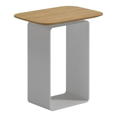 Clamp High Side Table - Buffed Teak Top (White)