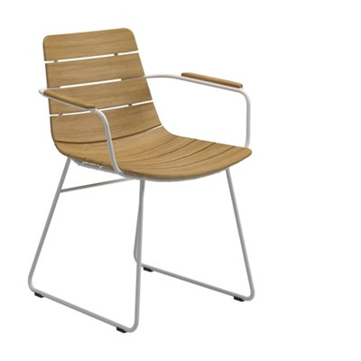 William Dining Chair with Arms - Buffed Teak (White)