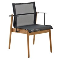 8203MGB Sway Teak Stacking Armchair - Buffed Teak (Meteor / Grey)