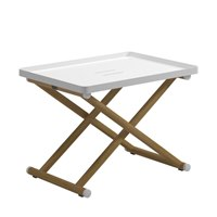 9370WB Voyager Folding Tray Stand - Buffed Teak (White)